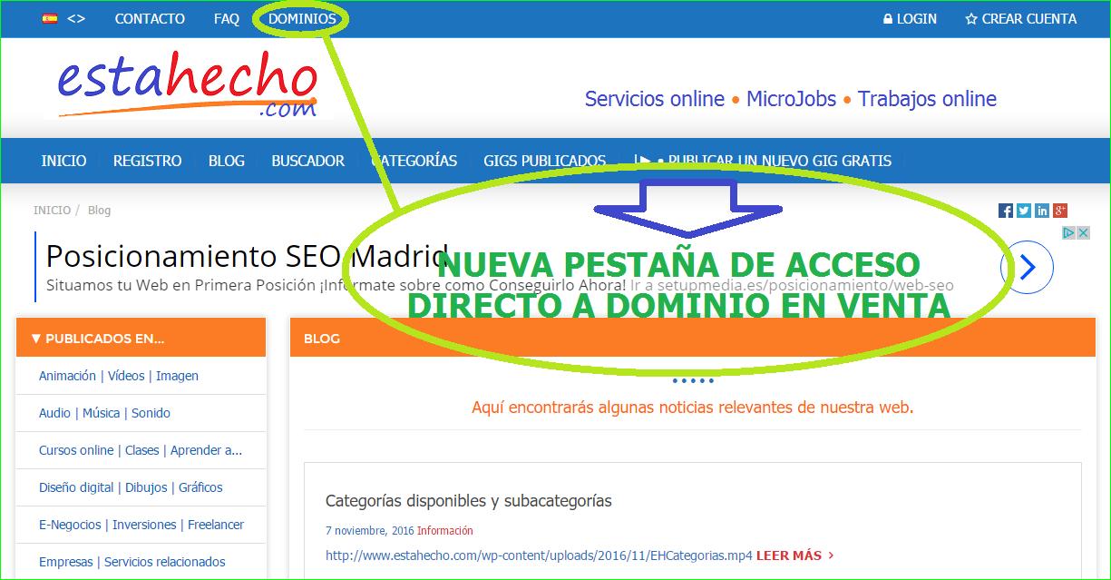 Acceso directo a dominios en venta.